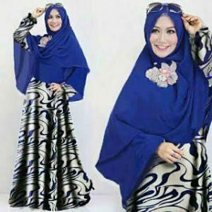 Model Baju Hijabers Motif Abstrak Gamis Murah Terbaru