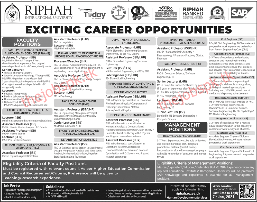 Latest Riphah International University Faculty Posts & Management Posts 2021