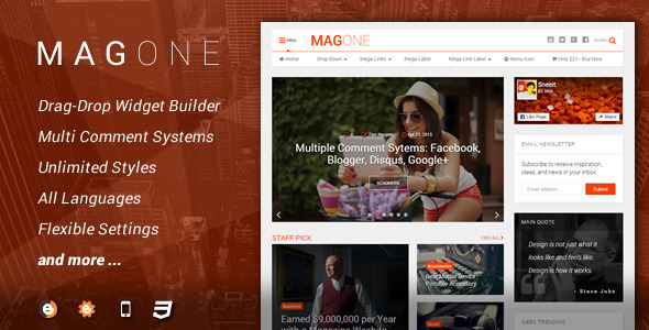 MagOne latest new version 4.2.1 Responsive Newspaper & Magazine Template