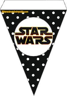 Banderines para Imprimir Gratis de Star Wars Bebés.
