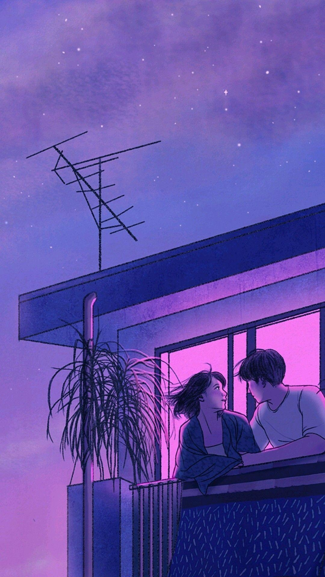 Couple on Balcony art mobile wallpaper