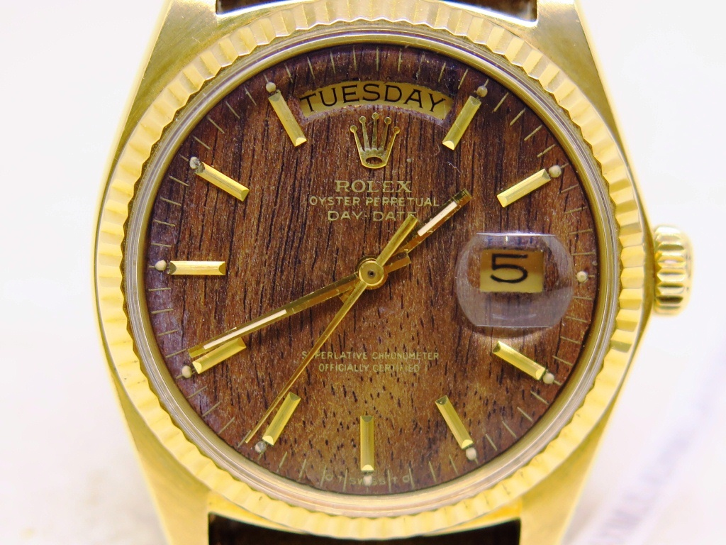 ROLEX OYSTER PERPETUAL DAY DATE ALL GOLD WOODEN DIAL - ROLEX 1803 DAY DATE - EXTREMELY RARE