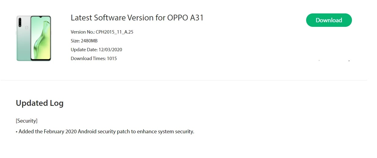 Oppo A31 February 2020 Security Patch Update Started Rolling Out [CPH2015_11_A.25] - Realme Updates