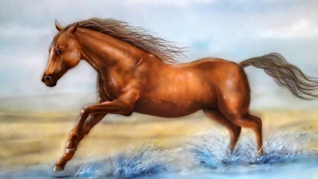 Malowanie obrazu na ścianie, konie w galopie, motyw konia w malarstwie, obraz biegnący koń, konie w malarstwie, portret konia, malowanie koni na ścianie