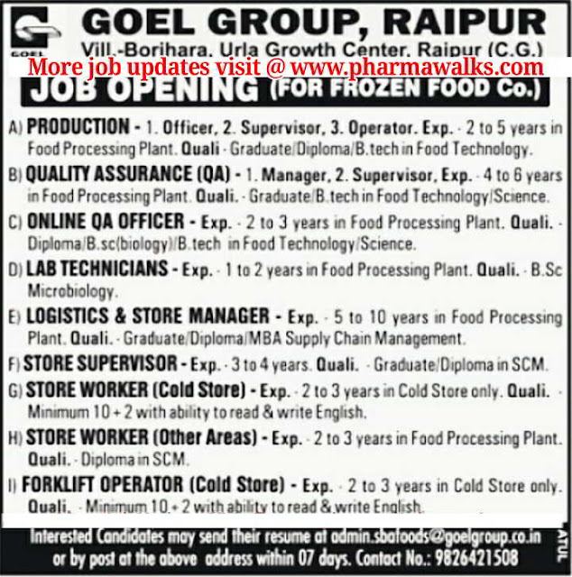 Job Openings in Production / QA / Lab Technicians / Logistics & Store / Operators for Frozen Food Co. @ GOEL GROUP