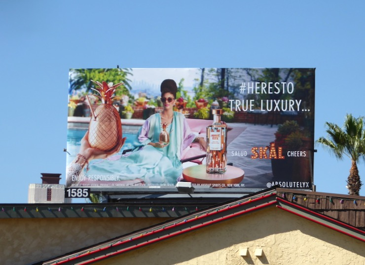 Salud Skal Cheers Absolut Elyx billboard Sunset Strip