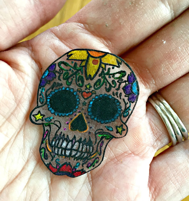 ShrinkyDink skull after baking.
