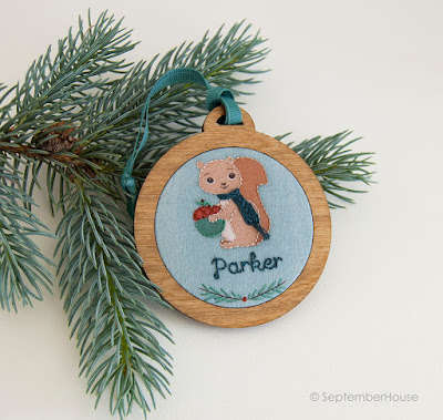 personalized holiday ornaments squirrel design handmade by SeptemberHouse