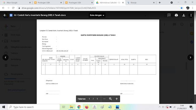 Contoh Format Kartu Inventaris Barang (KIB) A Tanah