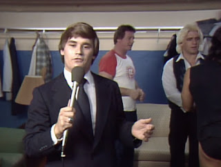 NWA Starrcade 83: A Flare for the Gold - Tony Schiavone hangs out backstage as Roddy Piper talks to Ric Flair and Mark Youngblood