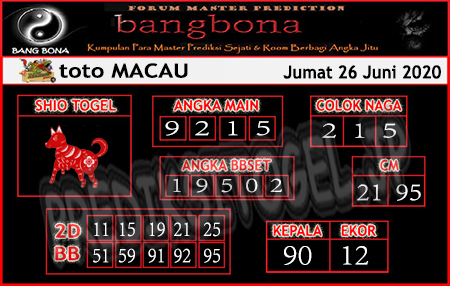 Prediksi Toto Macau Bangbona Jumat 26 Juni 2020
