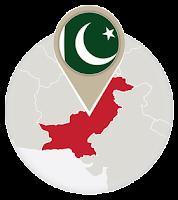 Pakistani flag and map