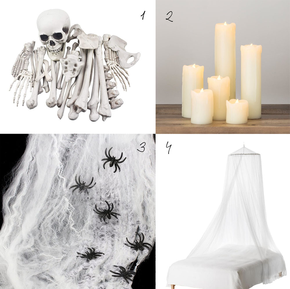 Cómo decorar una mesa de Halloween en blanco_Shopping list