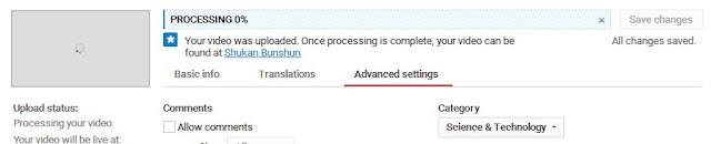 processing video lama di youtube
