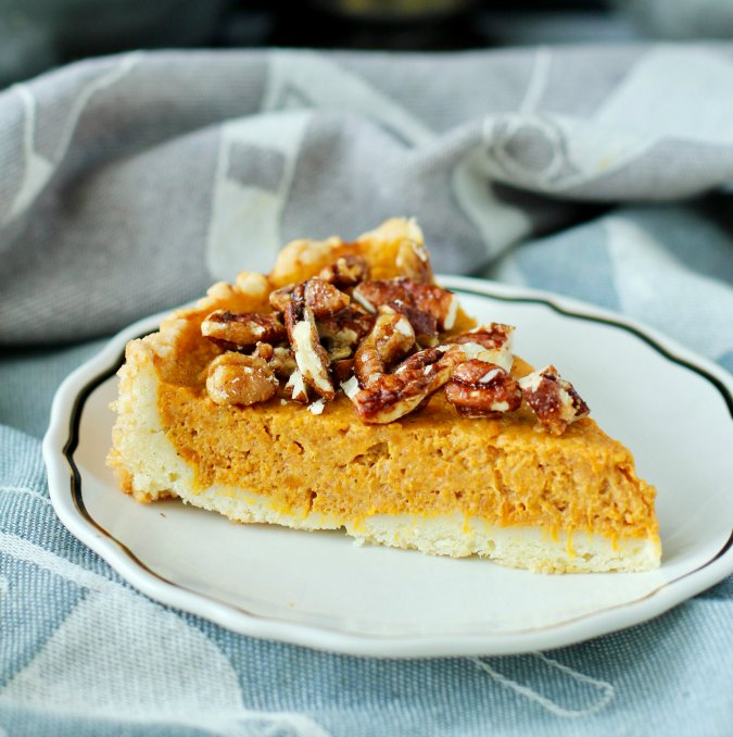 Sweet Potato Tart with candied pecans