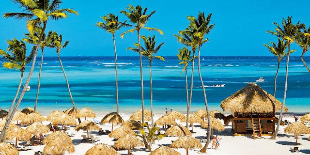 biały piasek, plaża, palmy, wakacje