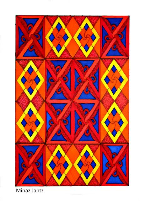 'Moroccan Sunset',  Bristol paper, pencil, Copic Markers By Minaz Jantz