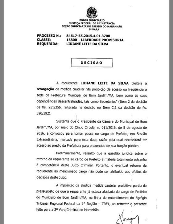 Prefeita ostentação consegue liminar e reassumirá Prefeitura de Bom Jardim-MA