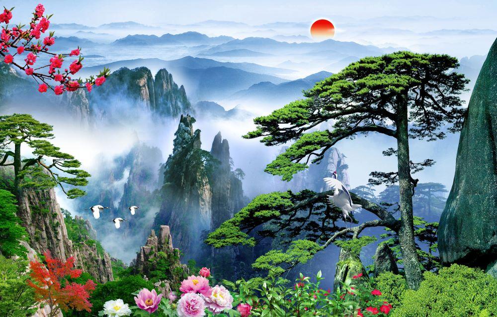 Tranh Dán Tường 3D Phong Thủy Cây Tùng Hoa Mẫu Đơn