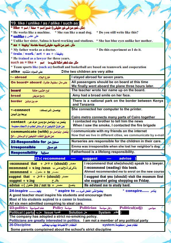 قواعد اللغة الانجليزية والملاحظات اللغوية للصف الثالث الثانوي مستر/ أحمد فرحات 3
