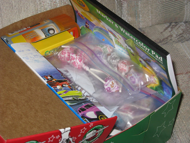 Operation Christmas Child shoebox stuffed to the brim!