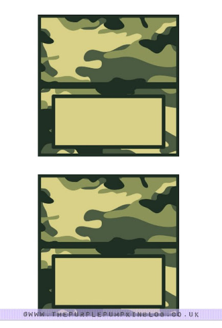graphic relating to Free Printable Food Labels for Party named Military Social gathering Camo Meals Labels Absolutely free Printables