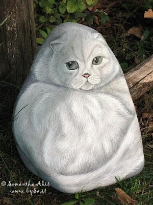 gatti dipinti su sasso