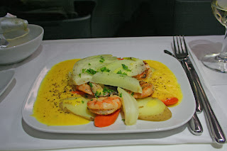 Business Class meal aboard Lufthansa A330