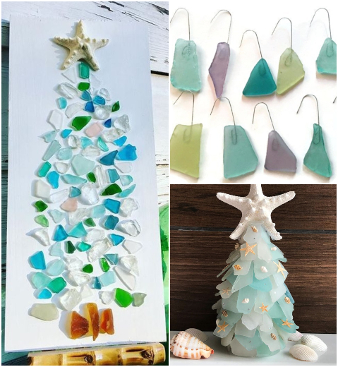 Seaglass Decorations for Christmas Holiday