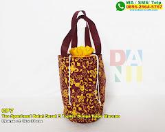 Tas Spunbond Bulat Serut 3 Toples Bunga Kupu Maroon