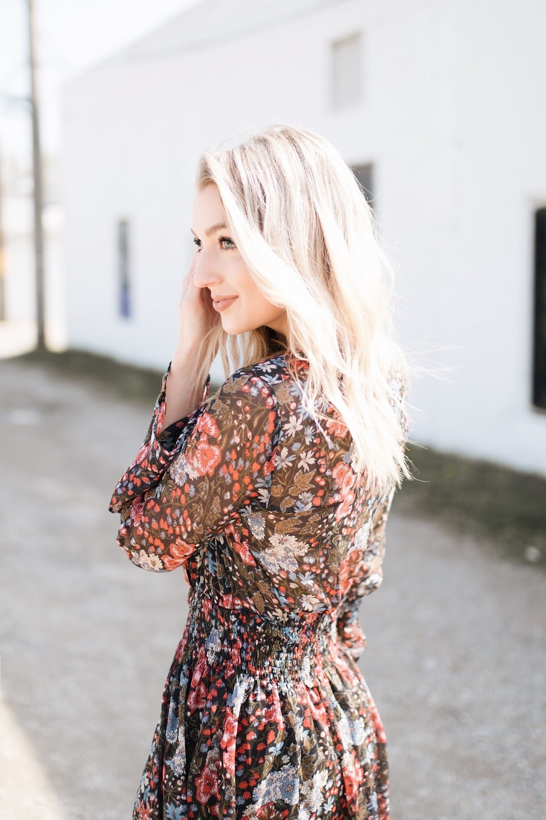 floral dress, platinum blonde wavy hair