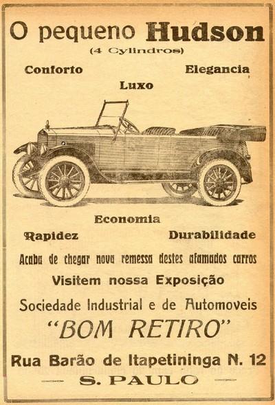 Propaganda antiga do automóvel Hudson de 1921 com promessa e economia e rapidez aos usuários