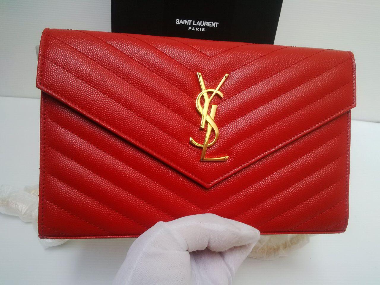 Satchi   SOLD  Reprice  Brand New YSL Saint Laurent Monogram WOC Red 999343223ce2f