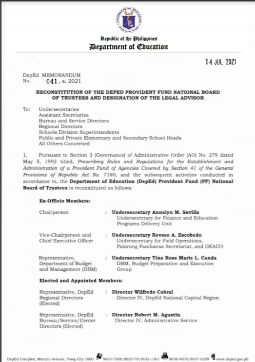 DM 041 S 2021|RECONSTITUTION OF THE DEPED PROVIDENT FUND NATIONAL BOARD OF TRUSTEES AND DESIGNATION OF THE LEGAL ADVISOR