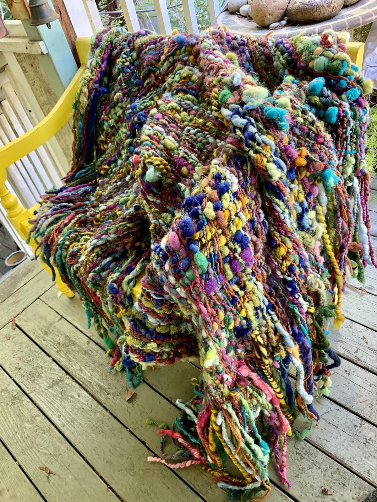 Handspun Art Yarn With Bullions Merino Cranberry Burgundy Saori Weaving 20-2-71