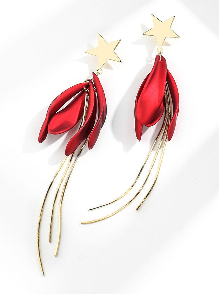 金屬風唯美流星花瓣耳環