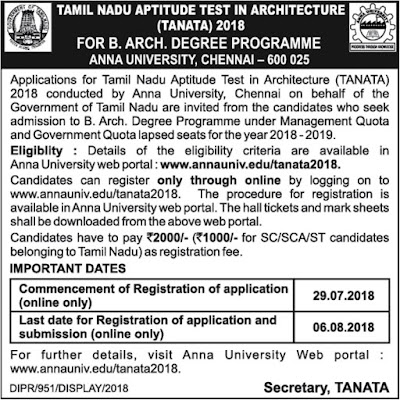 Tamil Nadu Aptitude Test in Architecture (TANATA) 2018