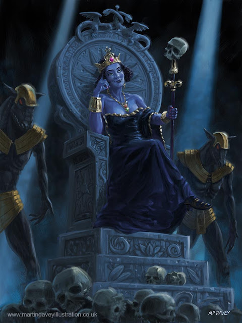 queen with skulls on throne art Martin Davey