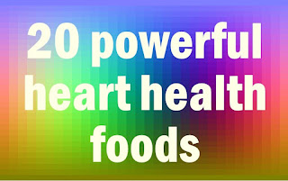 """The words """"20 Powerful Heart Health Foods"""" on a multicolored background"""