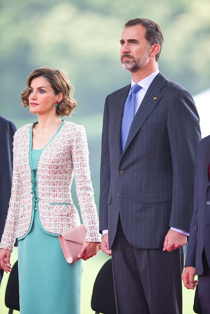 King Felipe VI of Spain and Queen Letizia of Spain, Enrique Peña Nieto, President of Mexico and Angelica Rivera, First Lady of Mexico, during a reception given by Mexican President Enrique Peña Nieto
