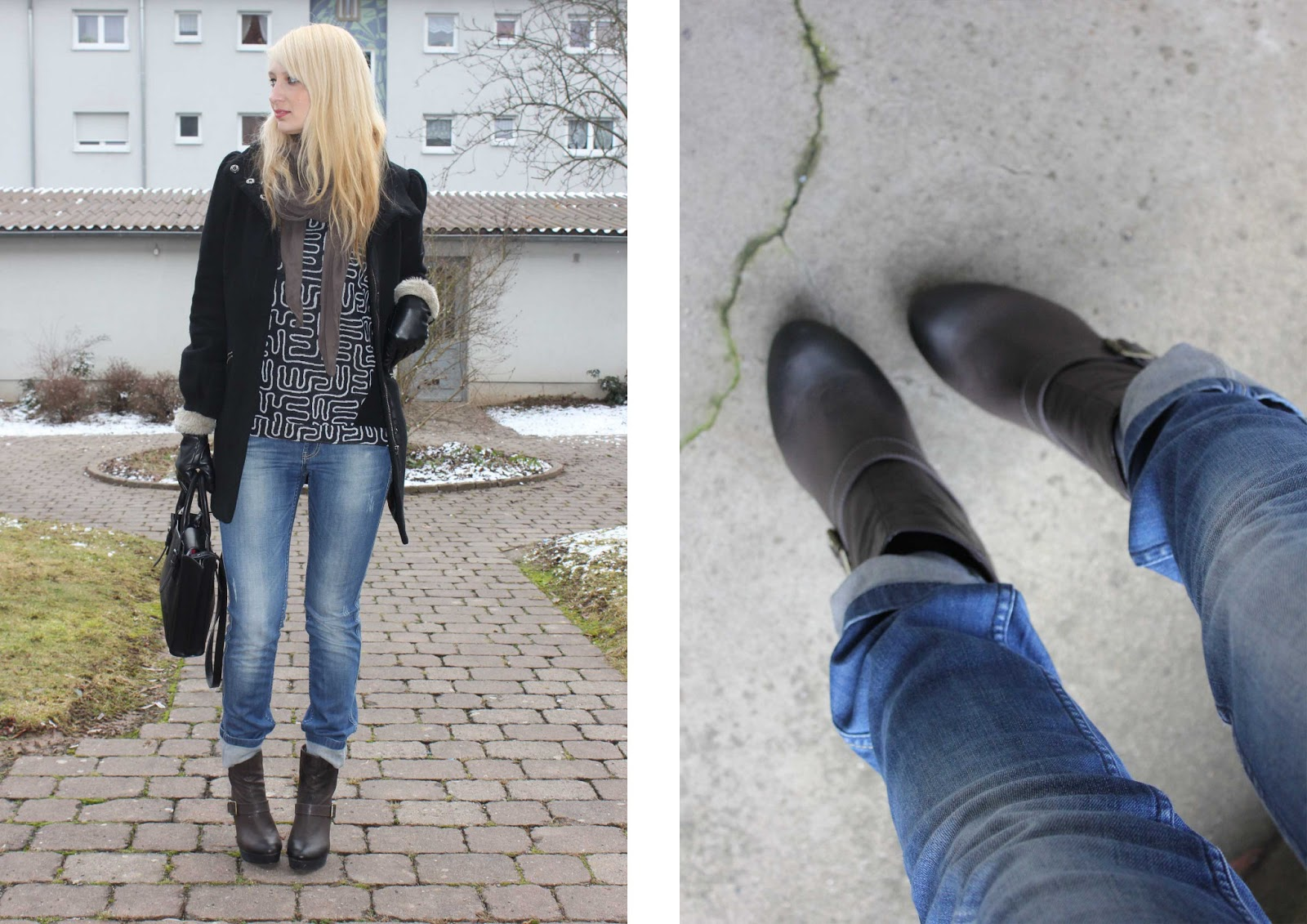 2c12e04c92776f Outfit  Sweater  made by me  Jeans  Only  Coat  H M  Bag  Zara  Boots  Even    Odd