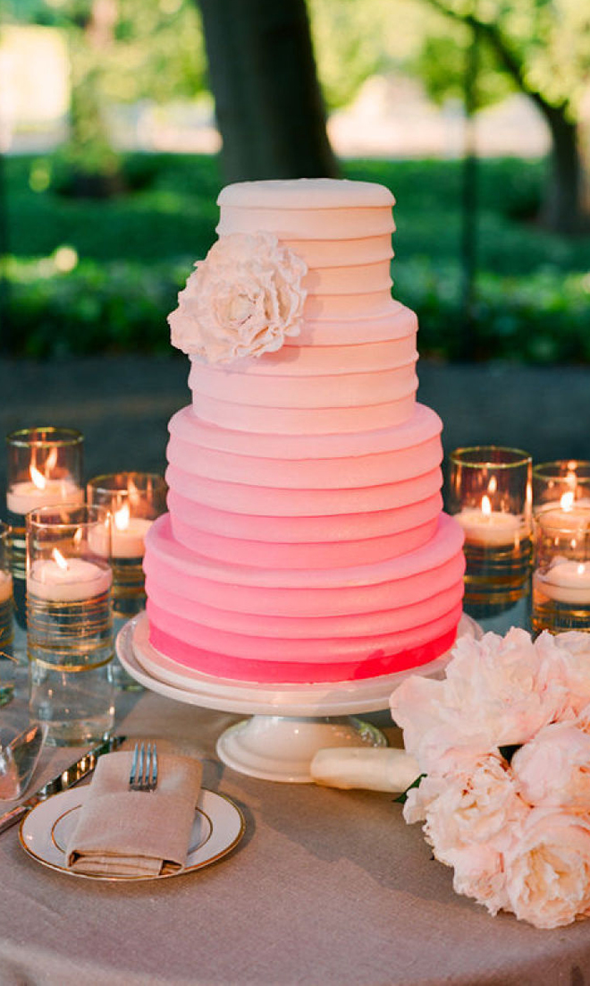 12 Fabulous Ombre Wedding Cakes   Belle The Magazine  Below image credits  Photographer  Lisa Lefkowitz    Cake Designer  Cake  Coquette    via Style Me Pretty