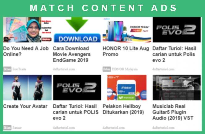 Tutorial Cara Buat Match Content Adsense