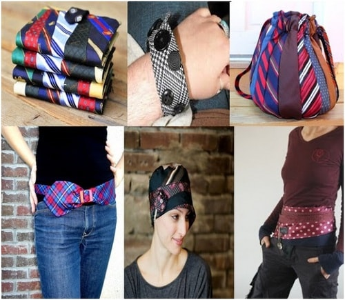 Different accessories made by men's necktie