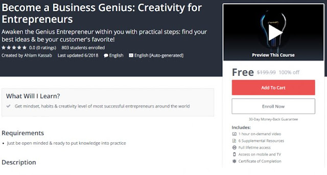 [100% Off] Become a Business Genius: Creativity for Entrepreneurs| Worth 199,99$