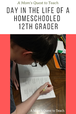 A Mom's Quest to Teach:  Day in the Life of a Homeschooled 12th Grader; teen working on vocabulary