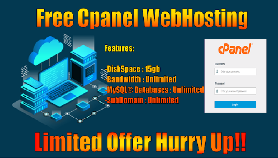 💯 Free Cpanel WebHosting 🔥 🔥 🔥 WIth Unlimited Bandwith, Unlimited Sql Database And Unlimited Subdomain 🔥 🔥 (No Credit Card Needed)