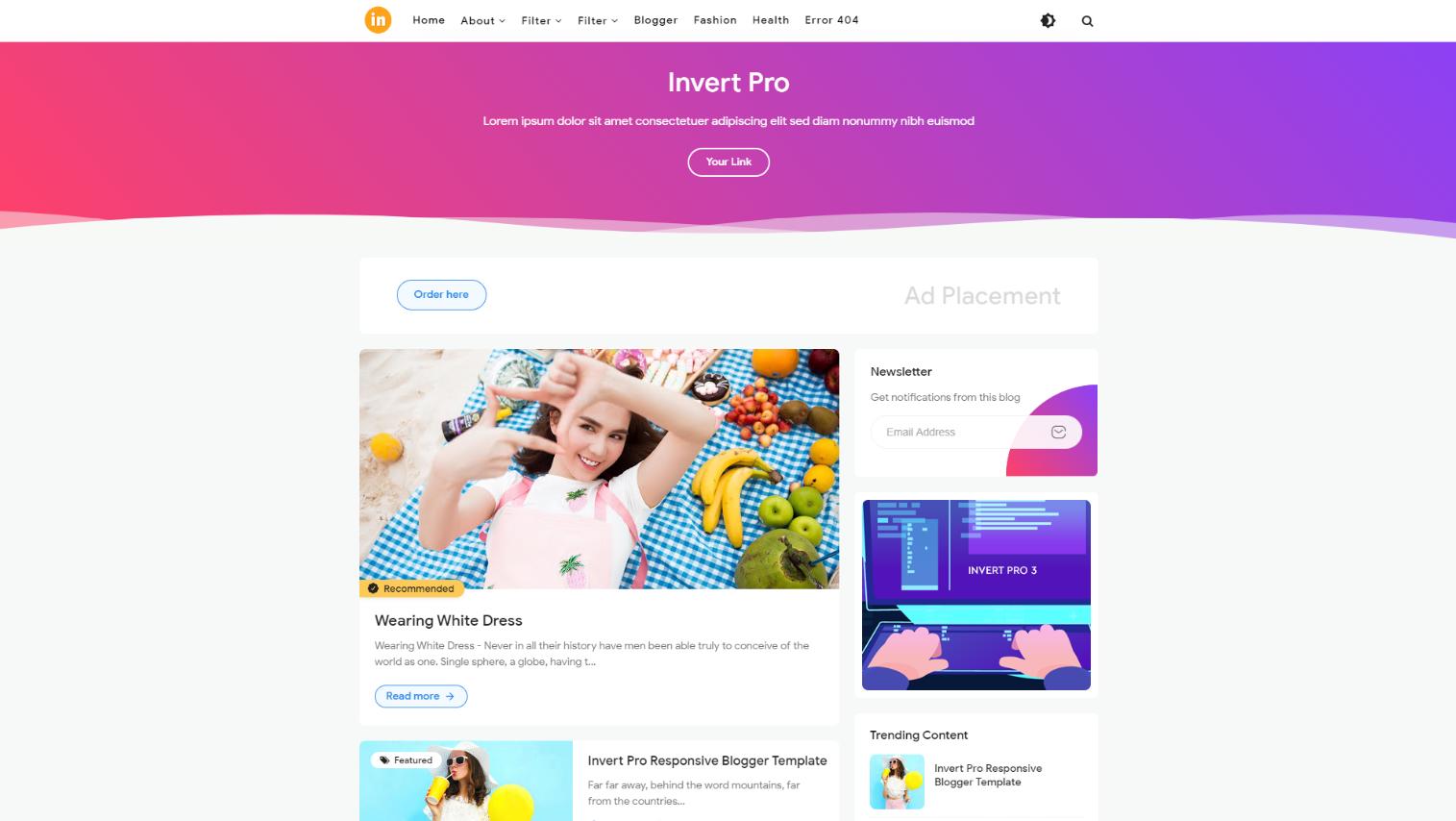 Invert Pro Premium Blogger Template