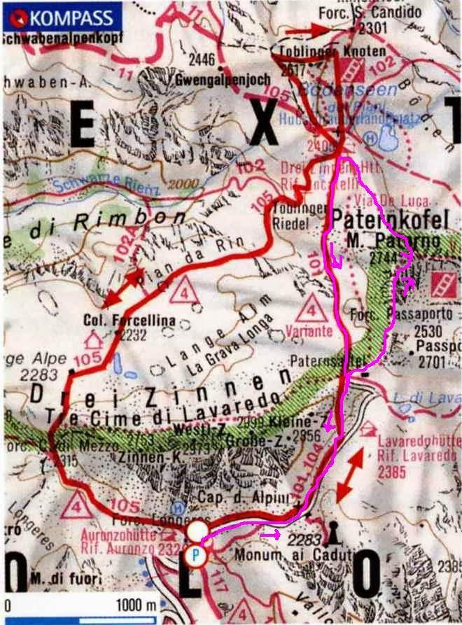 Cartina 3 Cime Di Lavaredo.Montagna A Tutta Birra Tre Cime Di Lavaredo Gallerie Del Paterno M Paterno 2746 M