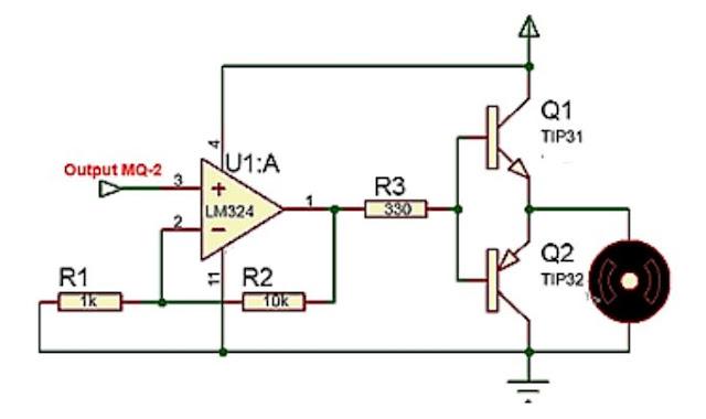 implementasi sensor Gas MQ-2 dengan motor DC